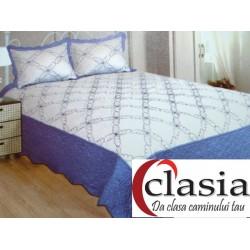 Cuvertura de pat din bumbac alba cu borduri albastre