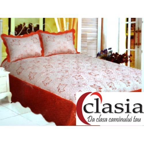 Cuvertura de pat alb si portocaliu cu broderie