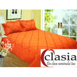 Cuvertura de pat orange cu model romburibrodat