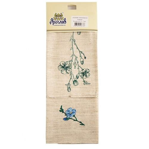 Set 2 prosoape de bucatarie Linen flower green, linen, 45 x 70 cm